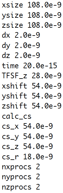 FDTD++ parameters file